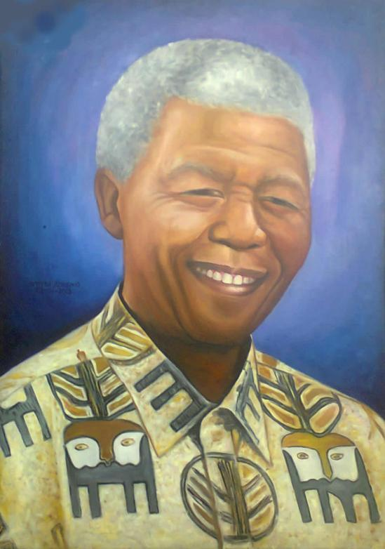 Portrait of Nelson Mandela, painted by Stephen Achugwo, on Jan 2013, in Johannesburg South Africa