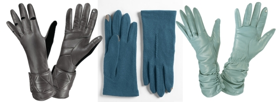 Sporty SmarTouch Gloves, Macy's, $42 Faux Leather Cuff Stretch SmarTouch Gloves, Macy's, $42 Fleece Tech Touch Gloves, Macy's, $34