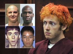 Mass murderes Jared Loughner, Aaron Alexis, Adam Lanza, Seung-hui Cho, and James Holmes.