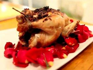 hens in rose petal sauce