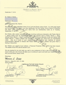 Letter found at Taleka Patrick's home stripping her of membership fromSapp's church.