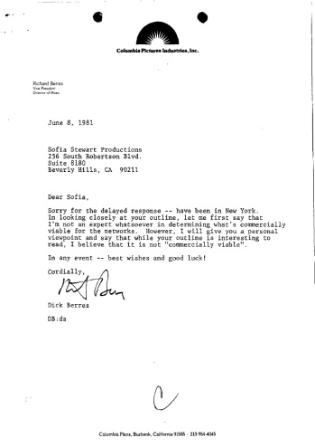 LETTER OF 2ND SUBMISSION REJECTION 1981